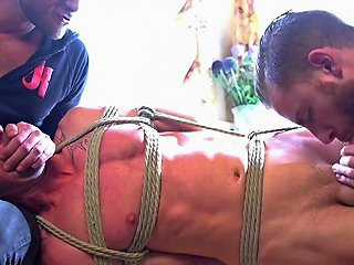 Restrained Sub Punished By Doms Edging Cock